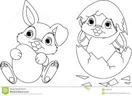 Printable Easter Bunny Coloring Pages Page Stock Vector Illustration