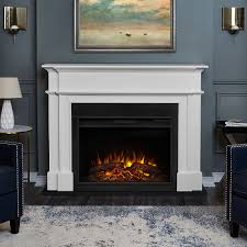 harlan grand infrared electric fireplace mantel package in white 8060e w