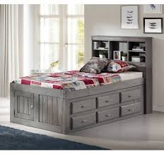 Discovery World Furniture Charcoal Gray Twin Size Bookcase Captains Bed