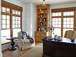 dream home office. Shiplap. The Library Showcases Ship-lap Siding And Quarter-sawn White Oak Cabinets Dream Home Office