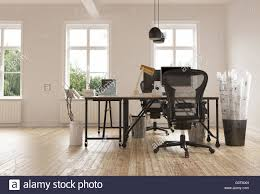 contemporary desks home office. 3D Render Of Empty Home Office Room With Pair Contemporary Desks And Chairs On Bare Hardwood Floor Beside Container Wrappe