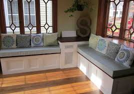 corner seating furniture. armless kitchen corner bench with storage below rounded floral motive cushions white glossy wooden seating furniture