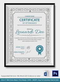 Certificate Of Excellence Template Word Professional Editable Certificate of Attendance Template Sample for 64