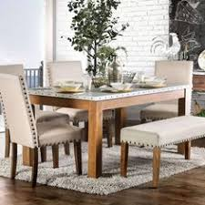 furniture of america aralla ii industrial style dining table natural brown
