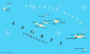 azores political map with administrative capital ponta delgada