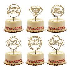 Gold Happy Birthday Cake Topper Acrylic Cupcake Topper Glitter