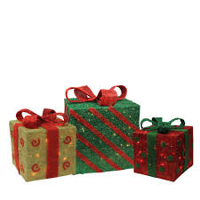Lighted Stacked Christmas Gift Boxes Northlight 18 75 In Christmas Outdoor Decorations Lighted Sparkling Gold Green And Red Sisal Gift Boxes 3 Pack