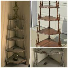 wooden corner shelves furniture. Exellent Furniture Interior Rustic Grey Wooden Corner Shelf Units With Four Racks And Brown  In Wooden Shelves Furniture O