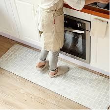 ustide 2 piece bohemia style rubber non slip kitchen rug runner blue plaid waterproof