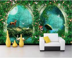 Forest wall mural, 3d wallpaper, Mural ...