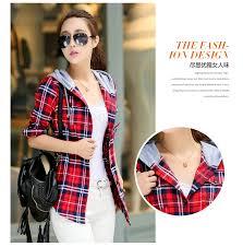 New 2019 <b>Spring Women</b> Shirt Fashion <b>Plaid</b> Hooded Shirt <b>Flannel</b> ...