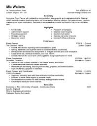 Event Coordinator Sample Resume Sample Resume For College Graduate