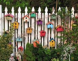 garden decorations ideas. Garden Fence Ideas. If You Would Like To Decorate A Wooden Fence, Well, \u0027what\u0027s Better Than Embellishing It With Colorful Birdhouses. Decorations Ideas S
