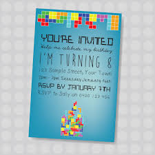 Personalised Birthday Invitations For Kids Tiny Tetris Gamer Kids Personalised Birthday Invitation By Naomi