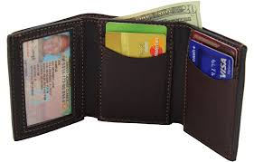 Tri Fold Window Brown Premium Bridle Leather Usa Made Trifold Wallet With Id Window