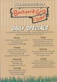 specials menu backyard grill and bar daily specials menu backyard grill and bar