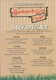 specials menu backyard grill and bar daily specials menu backyard grill and bar
