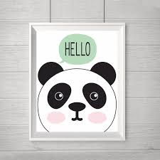 hello panda art print baby panda print canvas wall art modern nursery decor animals kids room decor frame not included in painting calligraphy from  on panda canvas wall art with hello panda art print baby panda print canvas wall art modern