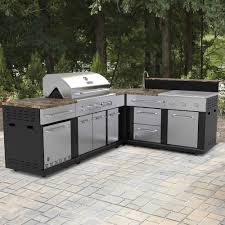 Outdoor Kitchen Gas Grill Shop Master Forge Corner Modular Outdoor Kitchen Set At Lowes