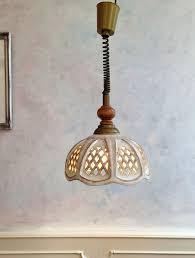 italian vintage retro 70 s ceramic wood pendant ceiling light fitting pull down