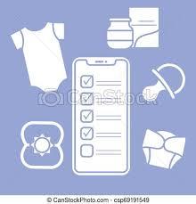 Baby Supplies Checklist Smartphone With Checklist Newborn Baby Accessories