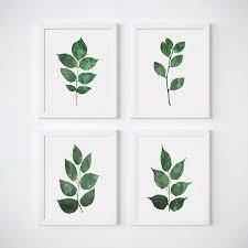 leaf wall art set of 4 prints botanical poster green leaves botanical on leaf wall art set with leaf wall art set of 4 prints botanic design bundles