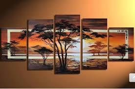 free love art home decoration 5panels handmade modern home decor paintings