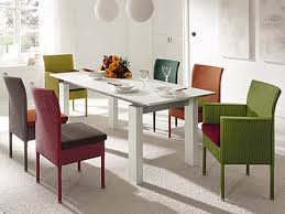 Dining Room White Modern Square Dining Table With Colorful Wicker ...