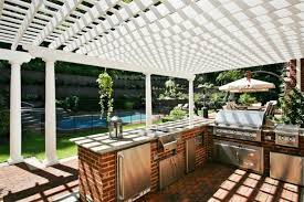 Kitchen Brick Floor Patio Kitchen Design Photo White Wooden Pergola Brick Stone Bbq