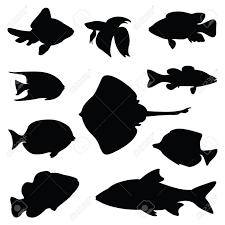 魚シルエット イラスト セット