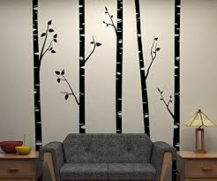 5 large birch trees with branches wall stickers for kids room removable vinyl wall art baby on birch tree branch wall art with 5 large birch trees with branches wall stickers for kids room