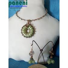 wire wrapped green donut bead pendant set