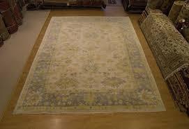 10 x 14 handmade hand knotted oushak rug vegetable dye hand spun very soft wool
