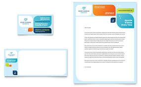 Office Stationery Design Templates Cleaning Services Business Card Letterhead Template Word
