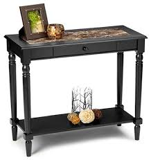 faux marble foyer hall table w drawer in black finish
