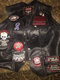 biker vest with patches sewn on
