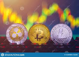 Litecoin Graph Chart Bitcoin Litecoin And Ripple Coins Currency Finance Money On