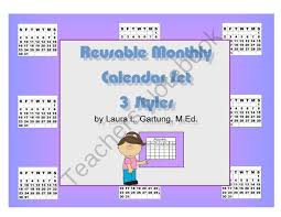 Printable Calendar Sample Classy Reusable Calendar Sampler Set From KISSTeacher Publications On