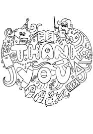 Thank You Black And White Printable Thank You Teacher Doodle Coloring Page Free Printable