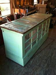 kitchen island made from old doors and windows we could used that gl door that we have saved in the ahed