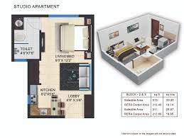 1 Bhk Layout Design Lagoon Residences Unit Plan Of 1 Bhk 2 Bhk Studio Flats