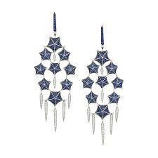 stephen webster stargazer 18k white gold diamond blue sapphire chandelier earrings