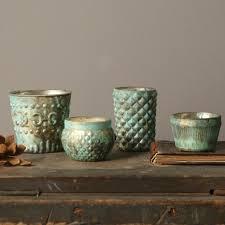 decorative mercury glass candle holder set of 4