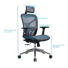 for lscing ergonomic recliner mesh office chair with adjule armrests aluminum base grey black whole crov