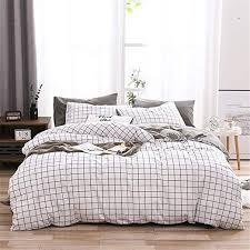 single duvet cover grid white grey