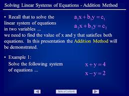 table of contents solving linear systems of equations addition method recall that to solve the