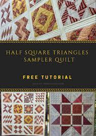 16 Half Square Triangles (HST) sampler quilt – free pattern   Half ... & 16 Half Square Triangles (HST) sampler quilt - free pattern Adamdwight.com