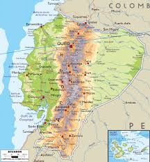 large physical map of ecuador with roads cities and airports