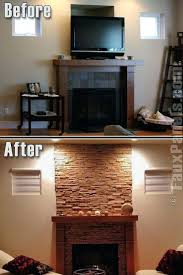 faux stone for fireplace updating fireplace with stone panels faux stone fireplace diy