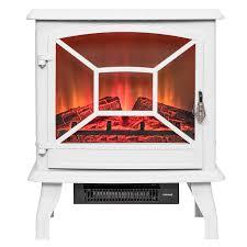 akdy 20 white finish freestanding portable electric fireplace firebox w log heater 0